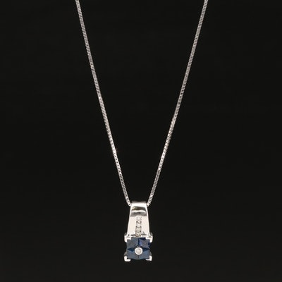 14K Sapphire and Diamond Pendant Necklace
