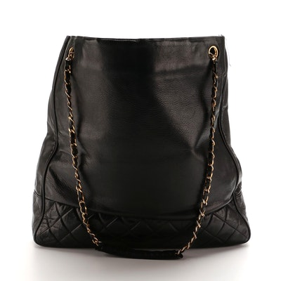 Chanel Quilted Black Lambskin Shopping Tote