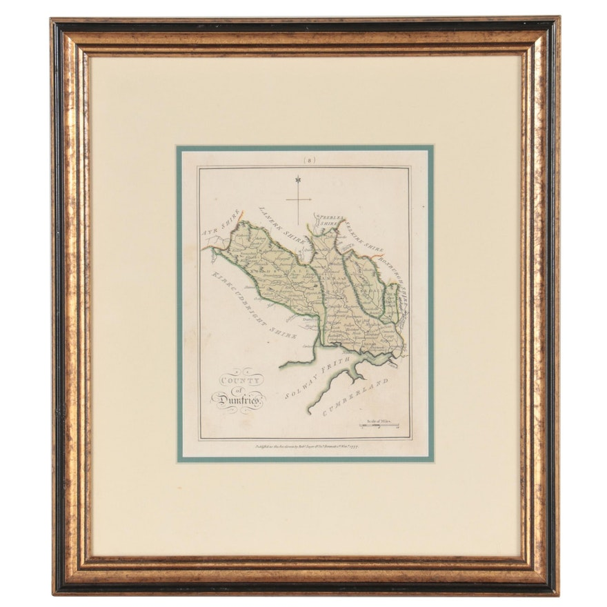 """Hand-Colored Engraved Map """"County of Dumfries,"""" 1777"""