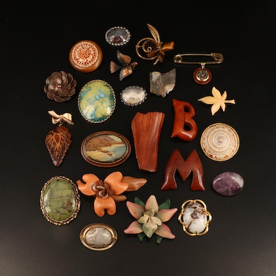 Vintage Brooches Including Shell, Jasper and Wood