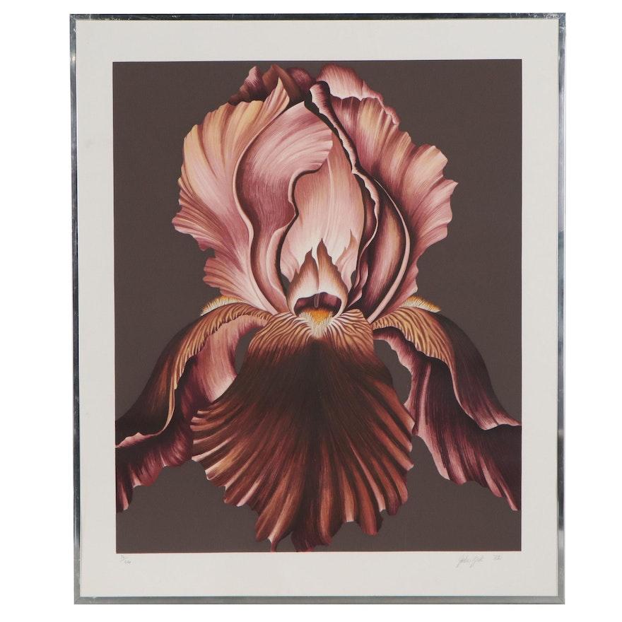 John Zak Lithograph of Red Iris, 1982