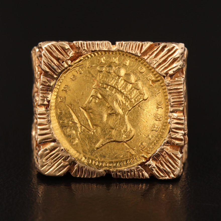 14K Textured Ring Holding an 1868 Indian Princess Head Coin