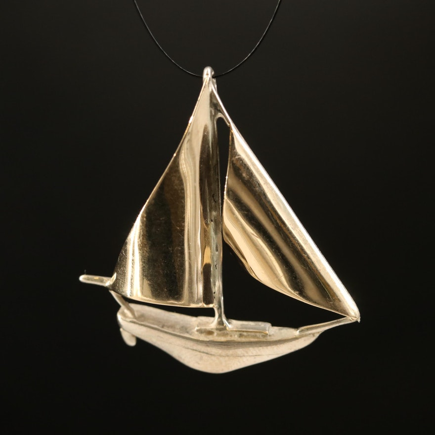 Sterling and 14K Sailboat Pendant