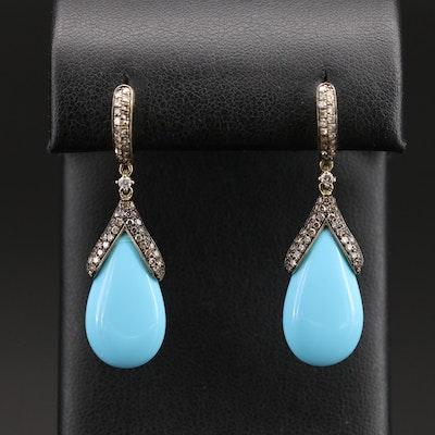14K Imitation Turquoise and Diamond Earrings