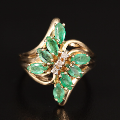 14K Emerald and Diamond Bypass Ring