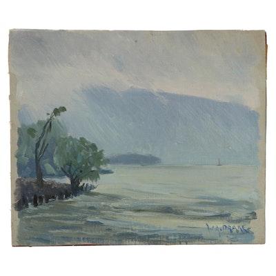 William Alexander Drake Oil Painting of Overcast Lake Landscape