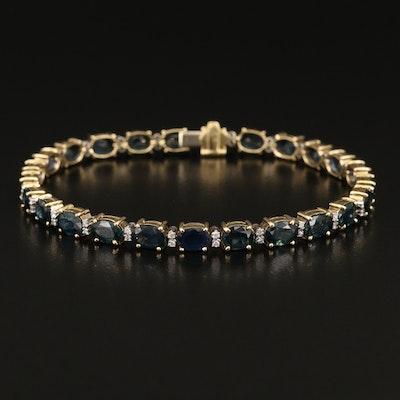 18K Sapphire and Diamond Line Bracelet