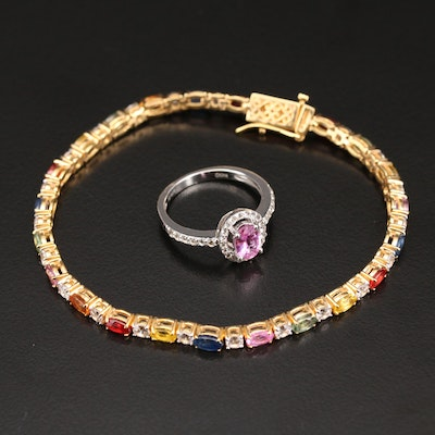 Sterling Line Bracelet and Ring with Multicolor Sapphire and Topaz