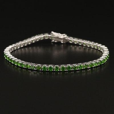 Sterling Silver Diopside Line Bracelet