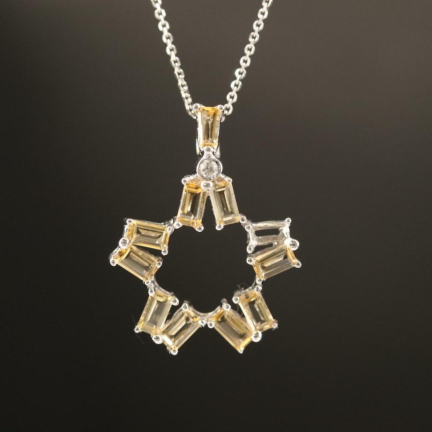 14K Citrine and Diamond Star Pendant Necklace