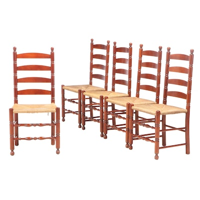 Five American Primitive Style Cherrywood Ladderback Side Chairs