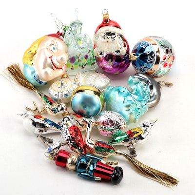 German and Other Blown Glass Christmas Ornaments, Late 20th Century
