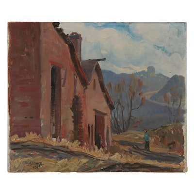 William Alexander Drake Oil Painting of Home Exterior, 1953