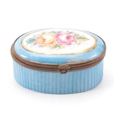 Porcelain Hand-Painted Patch Box, Antique