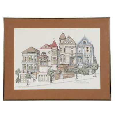 Debbie W. Patrick Colored Lithograph of Steiner Street, 1985