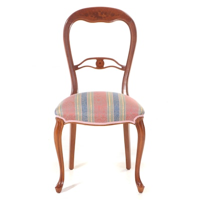 Louis XV Style Beech, Burlwood, and Marquetry Side Chair