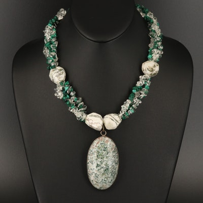 Sterling Jasper, Malachite and Glass Necklace