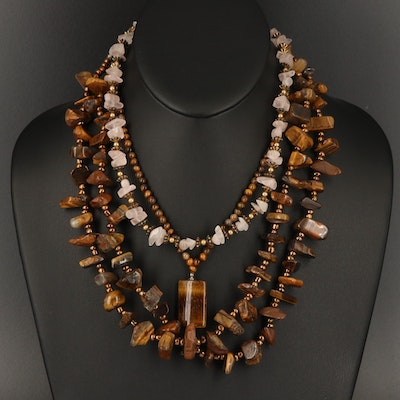 Tiger's Eye and Rose Quartz Necklace Grouping