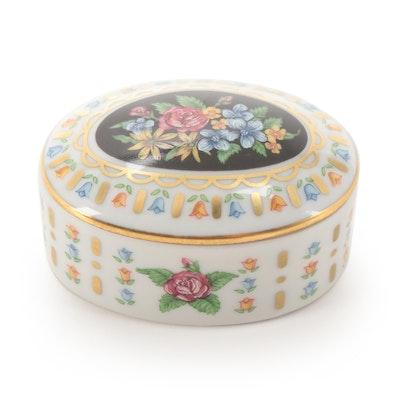 Candeaux D'amour Floral Motif Limoges Porcelain Box