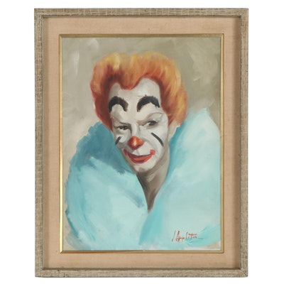 Oil Painting Portrait of a Clown, Late 20th Century