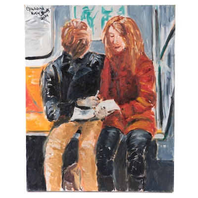 Oil Painting of Couple on Subway, 2014