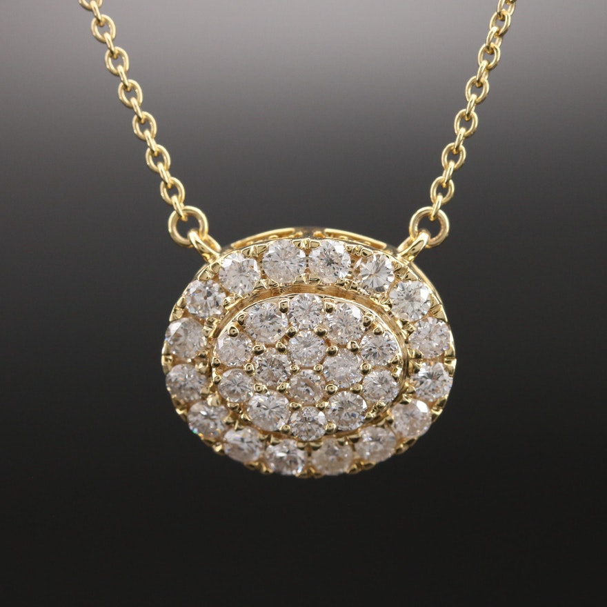 14K 2.02 CTW Pavé Diamond Necklace