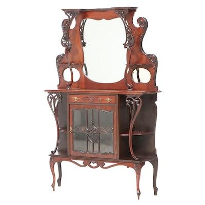 Art Nouveau Carved Walnut Mirror-Back Étagère, circa 1900