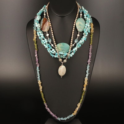 Necklace Selection Featuring Pearl, Agate and Citrine