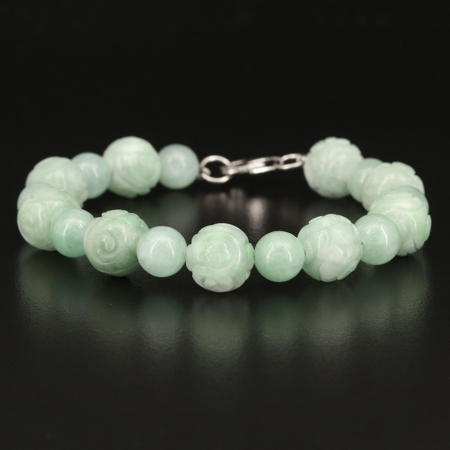 Carved Jadeite Bead Bracelet with Sterling Clasp