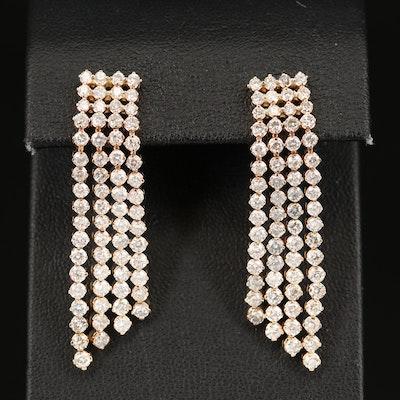 14K 4.95 CTW Diamond Waterfall Earrings with 18K Clutch