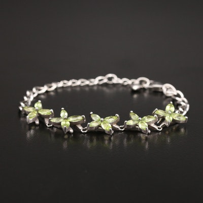 Sterling Peridot Floral Bracelet