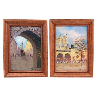 Oil Paintings of European Street Scenes