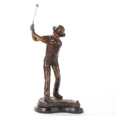 Cast Bronze Sculpture of Golfer, Late 20th Century