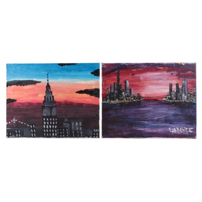 Sunset Cityscapes Acrylic Paintings