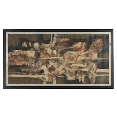 Abstract Oil Painting Attributed to John Nartker, Mid-20th Century