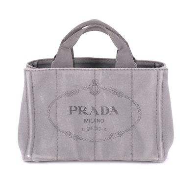 Prada Canapa Small Tote Bag in Grey Canvas