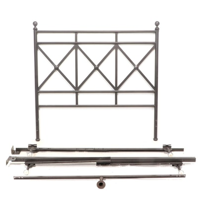 Neoclassical Style Patinated-Metal Full Size Bed Frame
