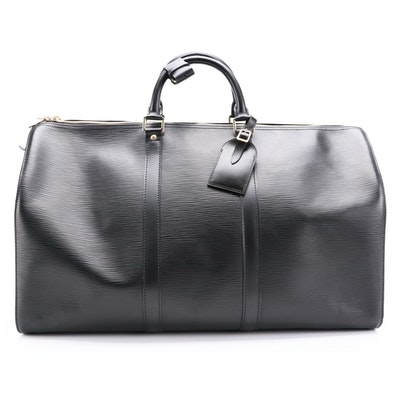 Louis Vuitton Keepall 50 Duffle Bag in Black Epi Leather