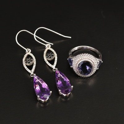 Sterling Iolite, Amethyst and Gemstone Earrings and Ring