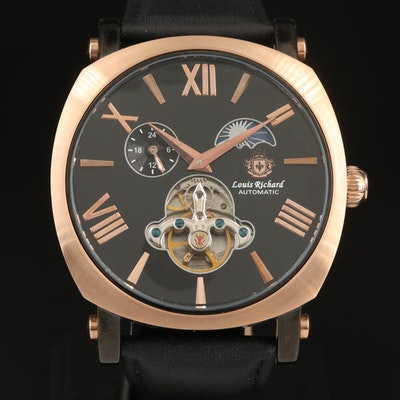 """Louis Richard """"Exposed Balance"""" Moonphase and Twenty-Four Hour Wristwatch"""