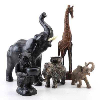Hand-Carved Giraffe with Leather Covered Elephant and Other Figurines