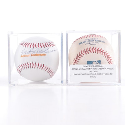 Sparky Anderson Signed Baseball with an MLB Game Used Baseball