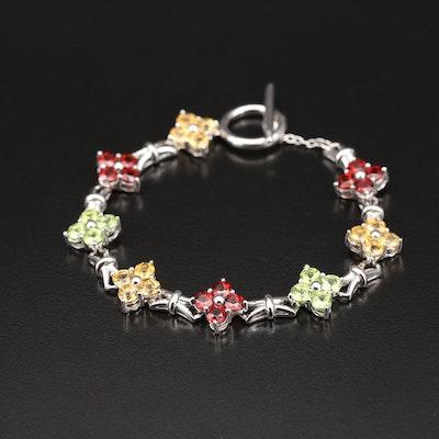 Sterling Citrine and Gemstone Floral Station Bracelet