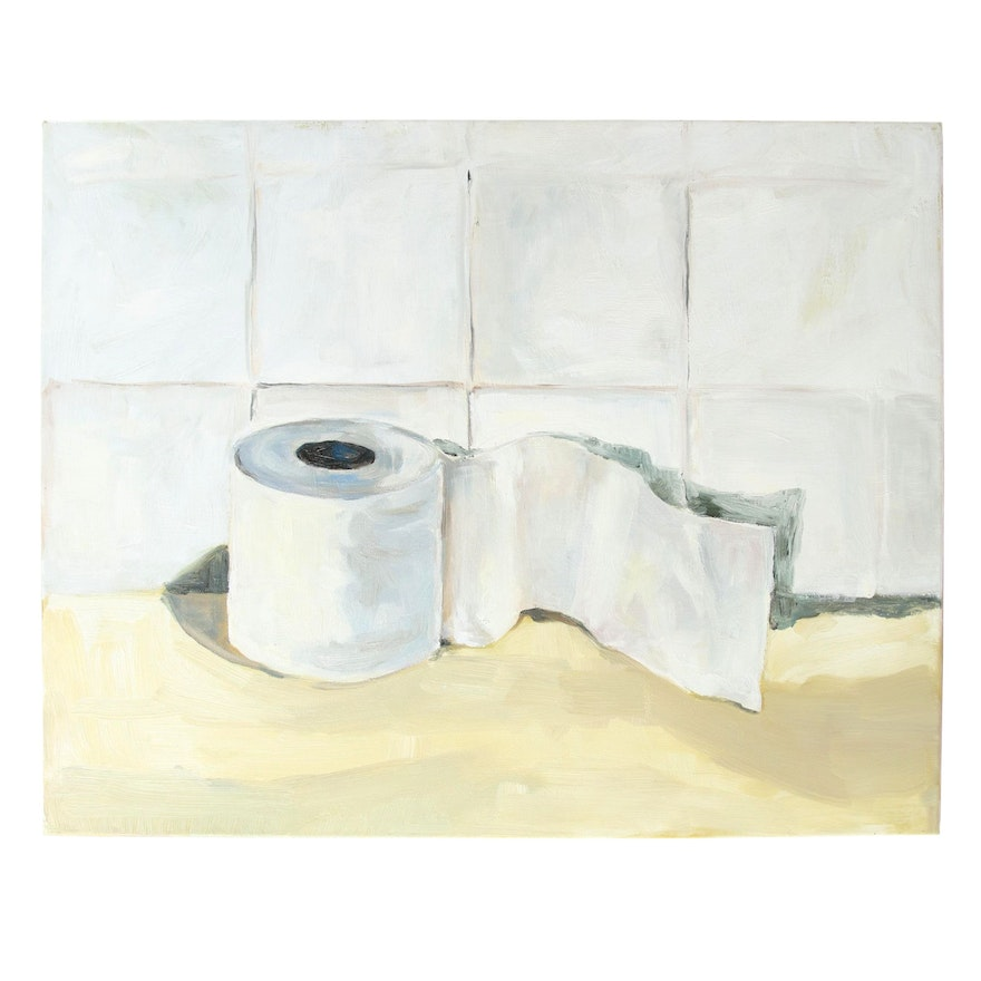 Claire Vetrano Still Life Oil Painting of Toilet Paper Roll, 2020