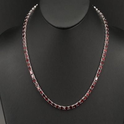 Sterling Silver Garnet Rivière Necklace