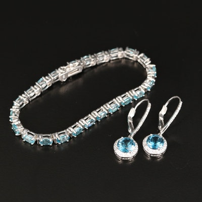 Sterling Bracelet and Earrings with London Blue Topaz, Blue and White Zircon
