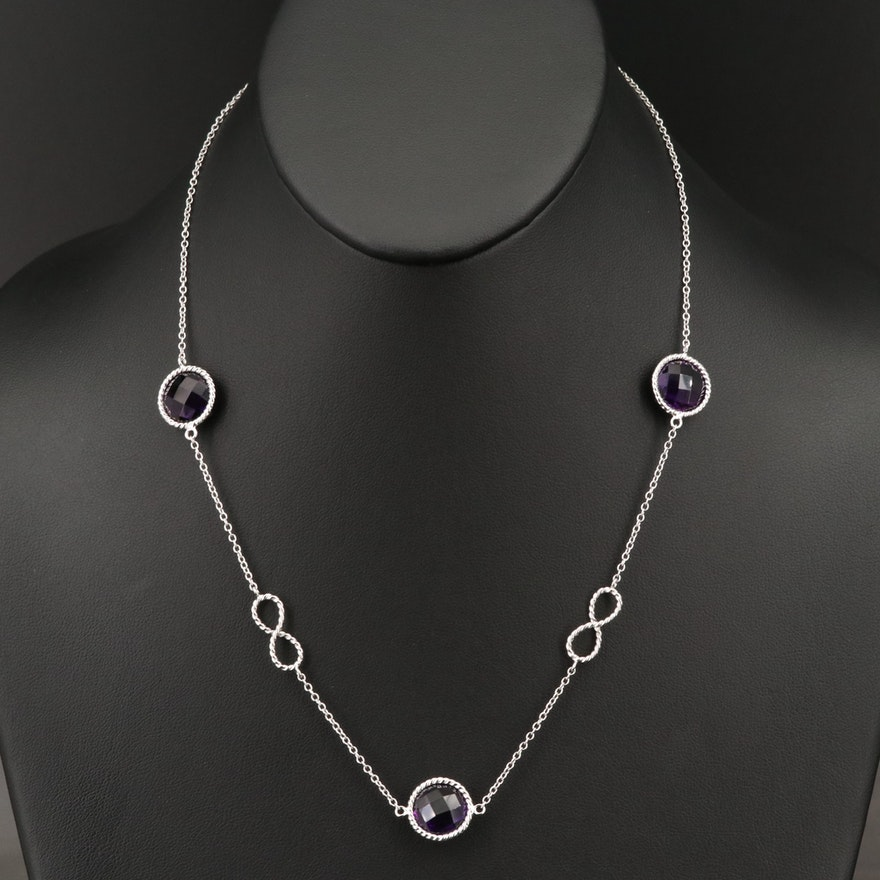 Sterling Silver Amethyst and Infinity Station Necklace