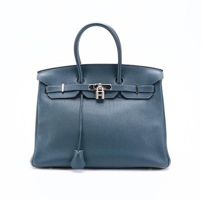 Hermès Birkin 35 Satchel in Blue Obscurs Clemence Leather