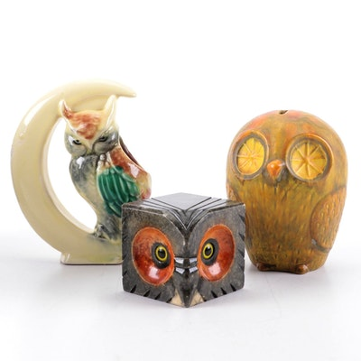 Italian Carved Alabaster Owl Paperweight with Ceramic Owl Coin Bank and Vase