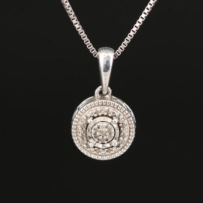 Sterling Illusion Set Diamond Cluster Pendant Necklace